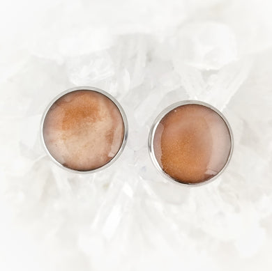 Nude Shimmery Studs, 12mm