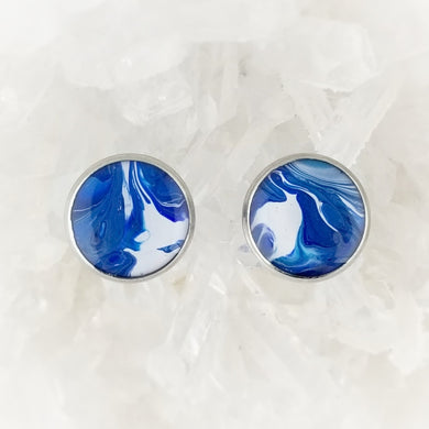 Blue and White Studs, 12mm