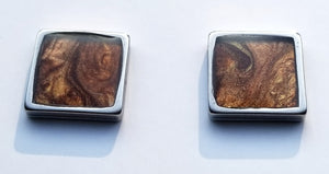 Chocolate Shimmer Square Studs 10mm