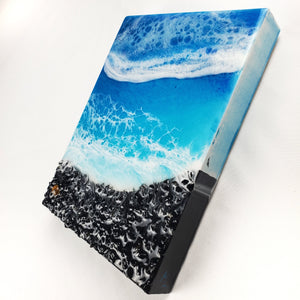"""Mini Black Beach"" Resin Art with Tiger Eye"