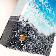 "Load image into Gallery viewer, ""Mini Black Beach"" Resin Art with Tiger Eye"
