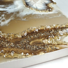 "Load image into Gallery viewer, ""Golden Eye"" Resin Art with Citrine and Quartz"