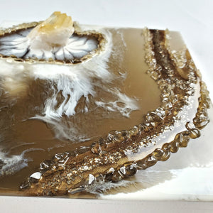 """Golden Eye"" Resin Art with Citrine and Quartz"