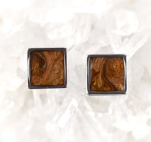 Load image into Gallery viewer, Chocolate Shimmer Square Studs 10mm