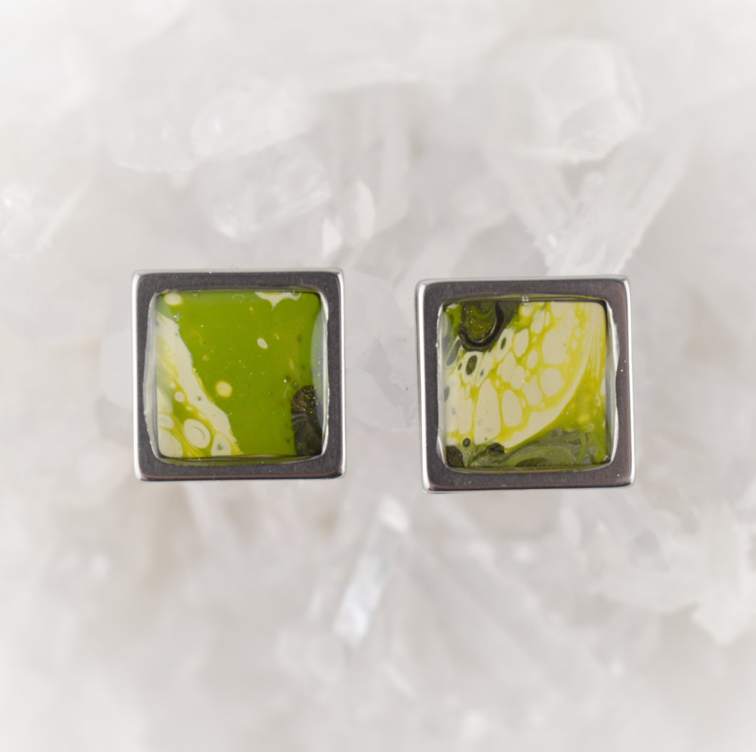 Green Square Studs, 10mm