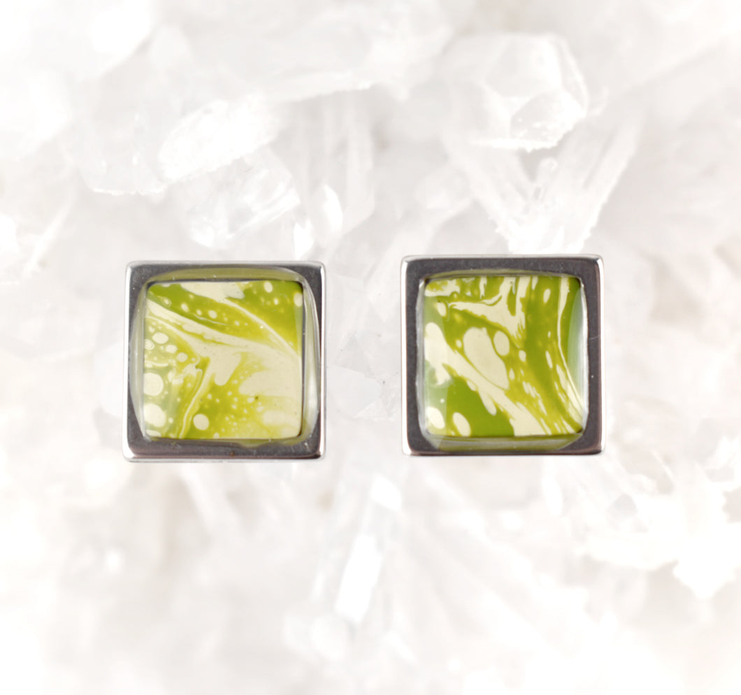Olive Green Square Studs, 10mm