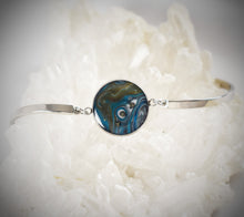 Load image into Gallery viewer, Teal/Brown Bracelet with Pyrite