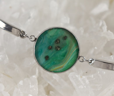 Green Bracelet with Pyrite