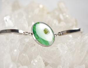 Green and White Bracelet with Peridot