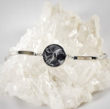 Load image into Gallery viewer, Black and White Bracelet with Black Obsidian