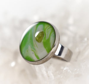 Green and White Ring with Peridot