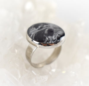 Black and White Ring with Black Obsidian