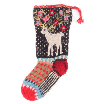 Reindeer Christmas Stocking  - Black