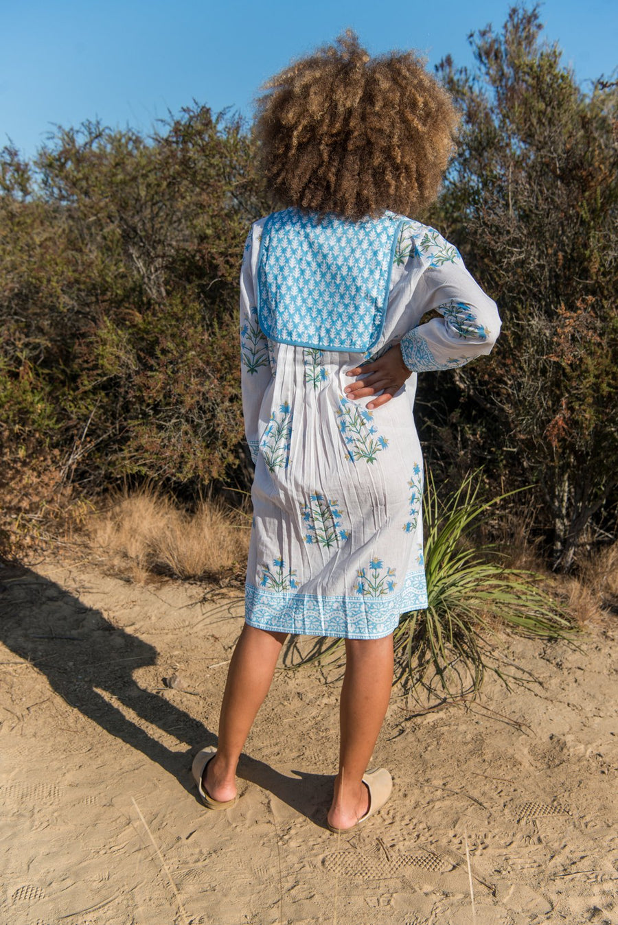 Jaipur Dress in Lily Print- Corn Flower Blue