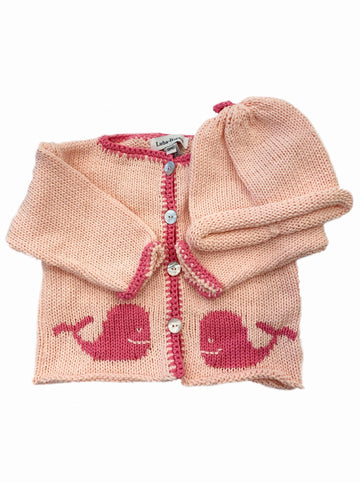 Hand Loomed Cardigan- LT Pink / Dark Pink Whale