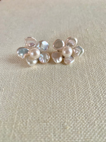 Keshi Flower Jacket & Stud Earrings