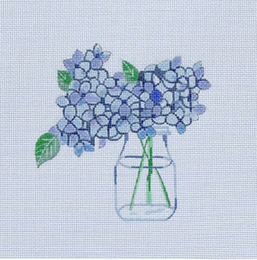 Hydrangea In Glass Vase