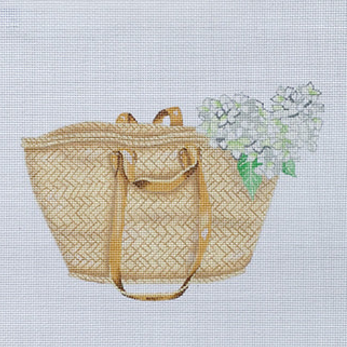 Tote with White Hydrangea