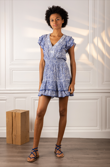 Mini Dress Camila Ruffled V-Neck Blue Canary