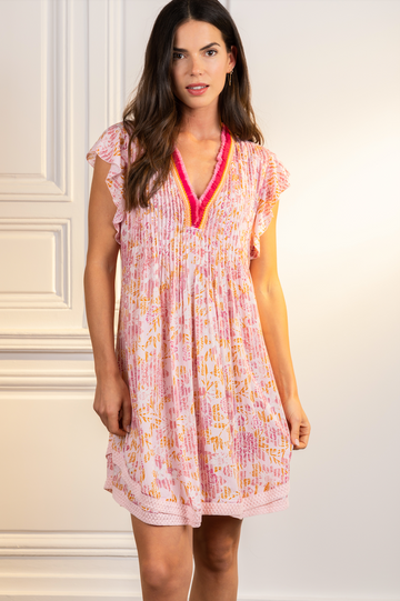 Mini Dress Sasha Lace Trimmed V-Neck -Pink Marigold
