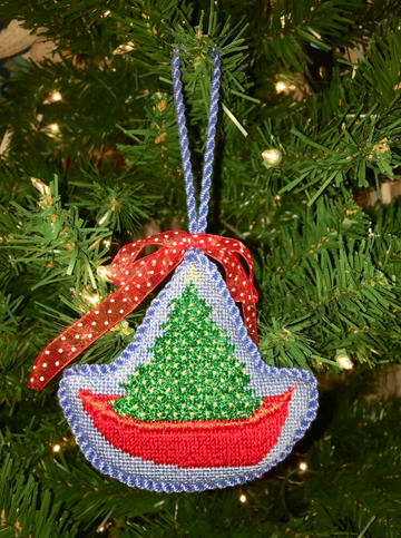 Christmas Tree Row Boat Ornament