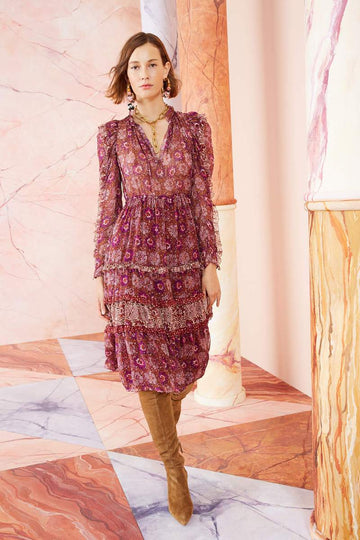 Alessandra Dress - claret patchwork