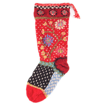 Floral Spray Christmas Stocking - Black