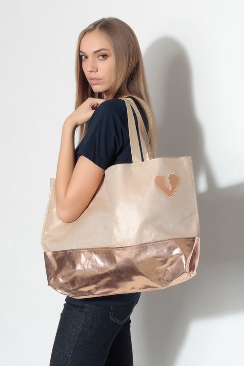 luxe marche tote- petra/ rose gold