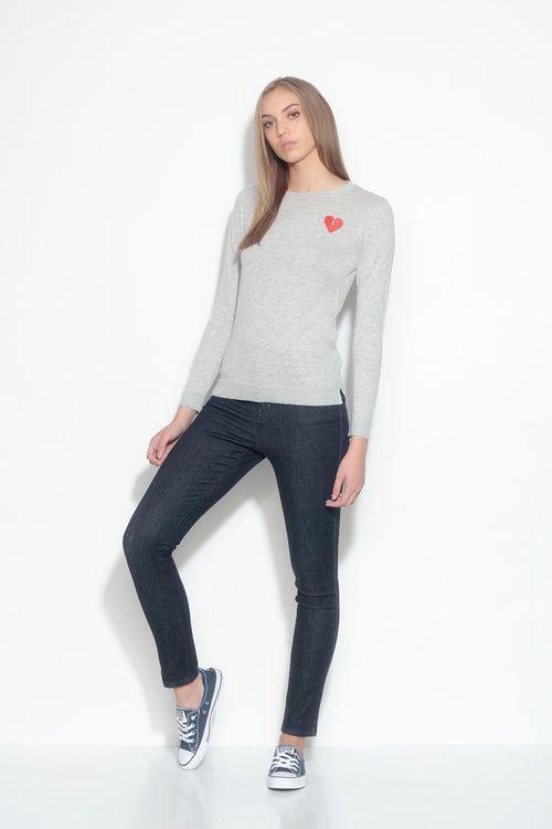 long sleeve crew neck sweater- chromium