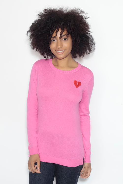 long sleeve crew neck sweater- dragon fruit