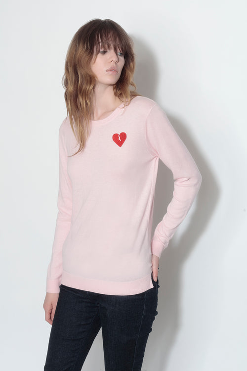 long sleeve crew neck sweater- rose petal