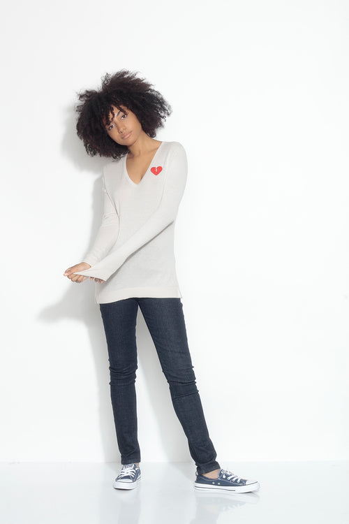 long sleeve v-neck sweater- canvas