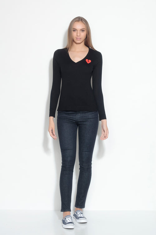 long sleeve v-neck sweater- coal