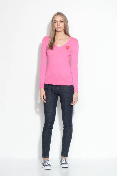 long sleeve v-neck sweater- dragon fruit