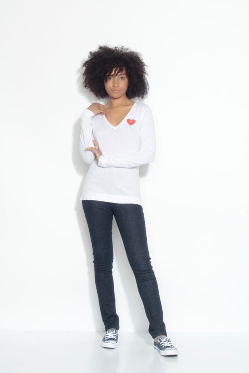 long sleeve v-neck sweater- laser white