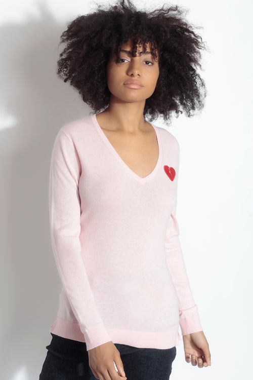long sleeve v-neck sweater- rose petal