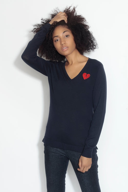 long sleeve v-neck sweater- ship ahoy