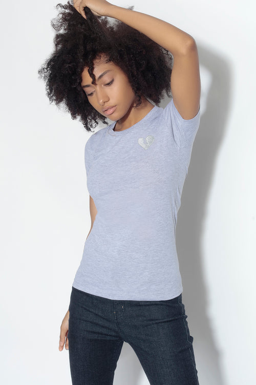 fitted short sleeve tee - heather grey