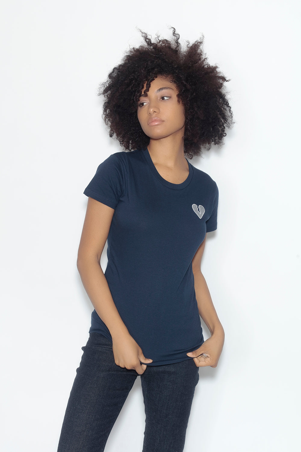 fitted short sleeve tee - navy