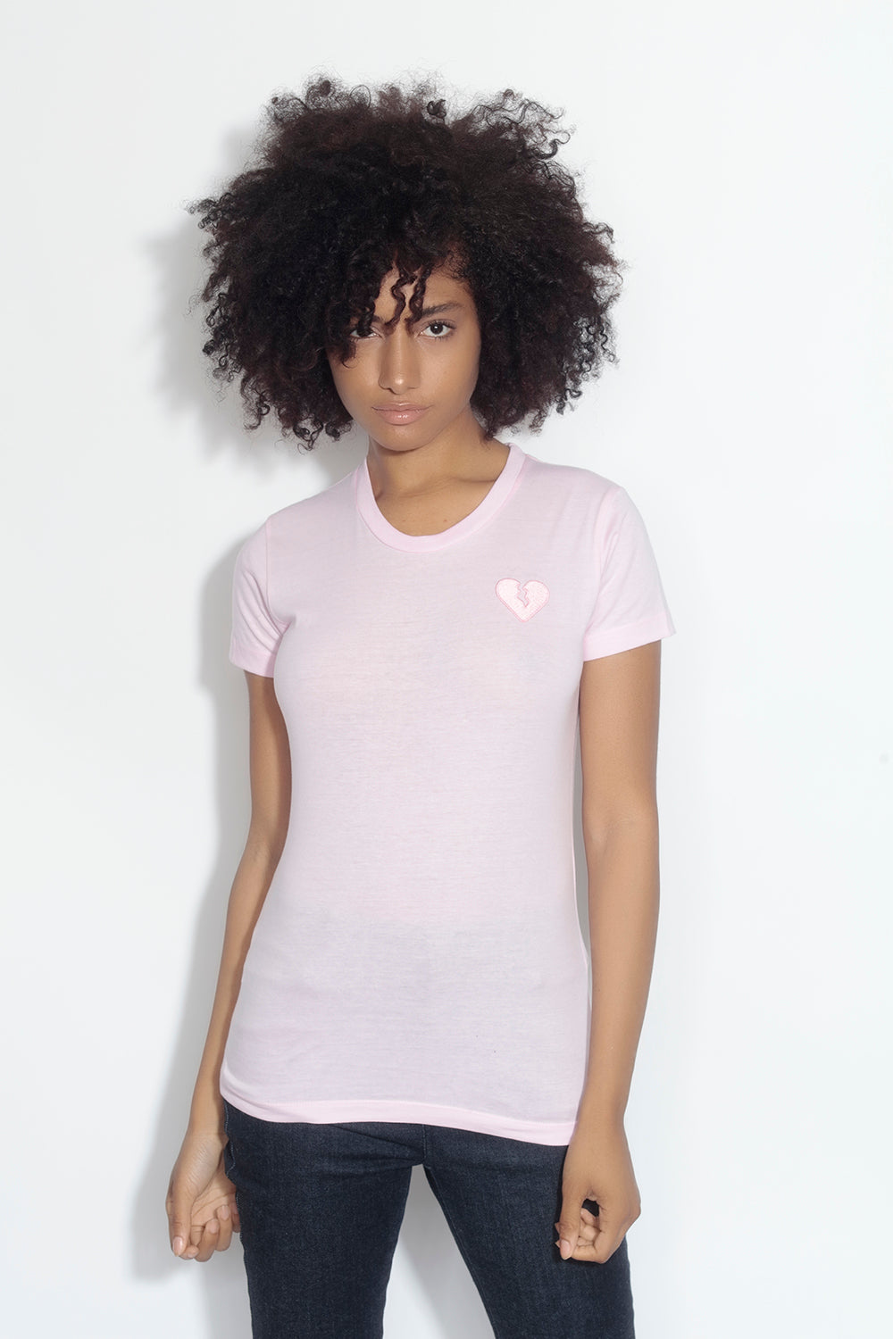 fitted short sleeve tee - pale pink