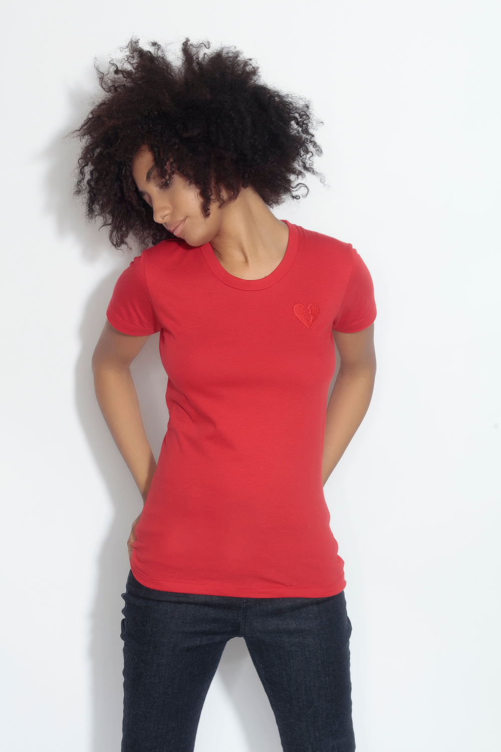 fitted short sleeve tee - red