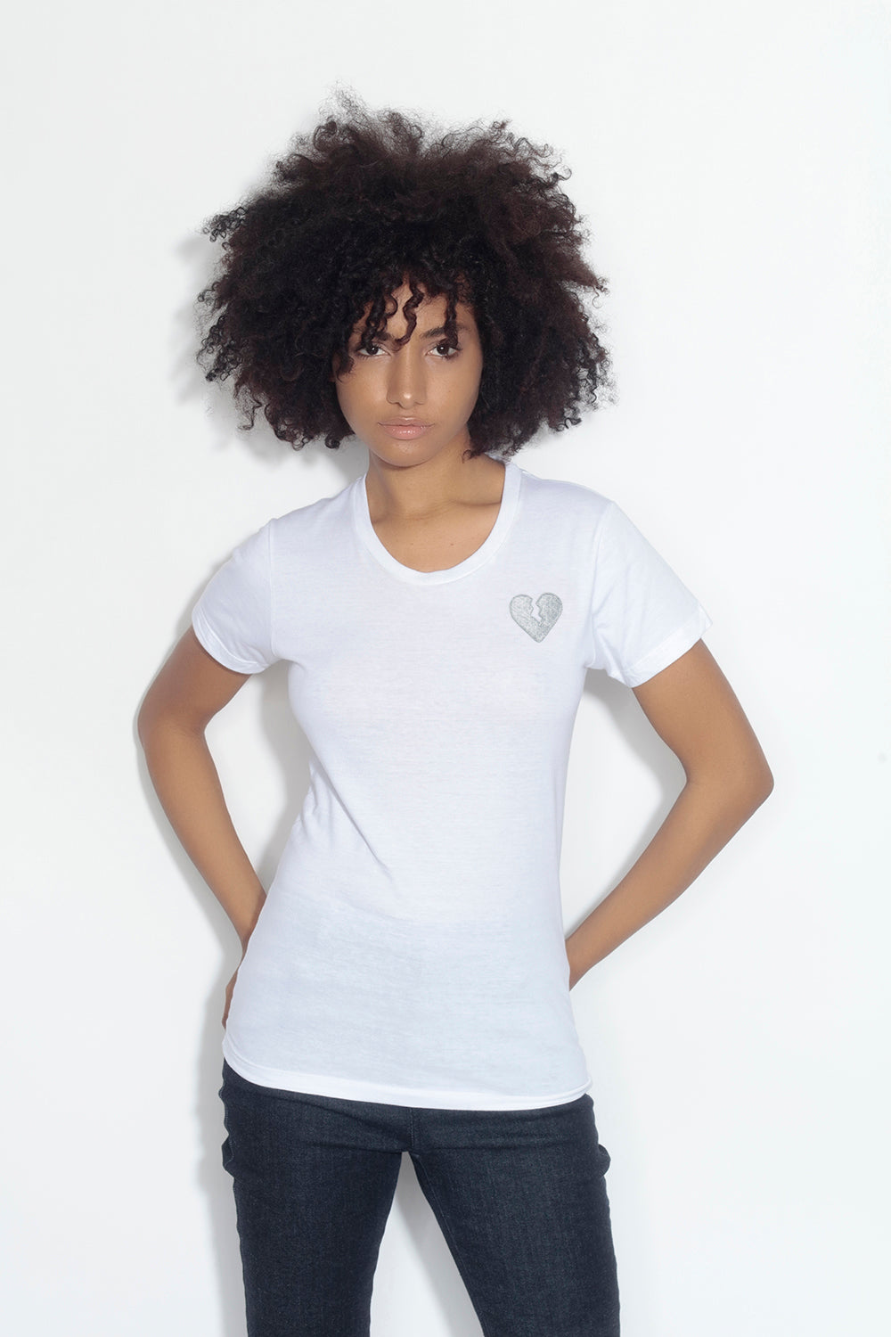 fitted short sleeve tee - white