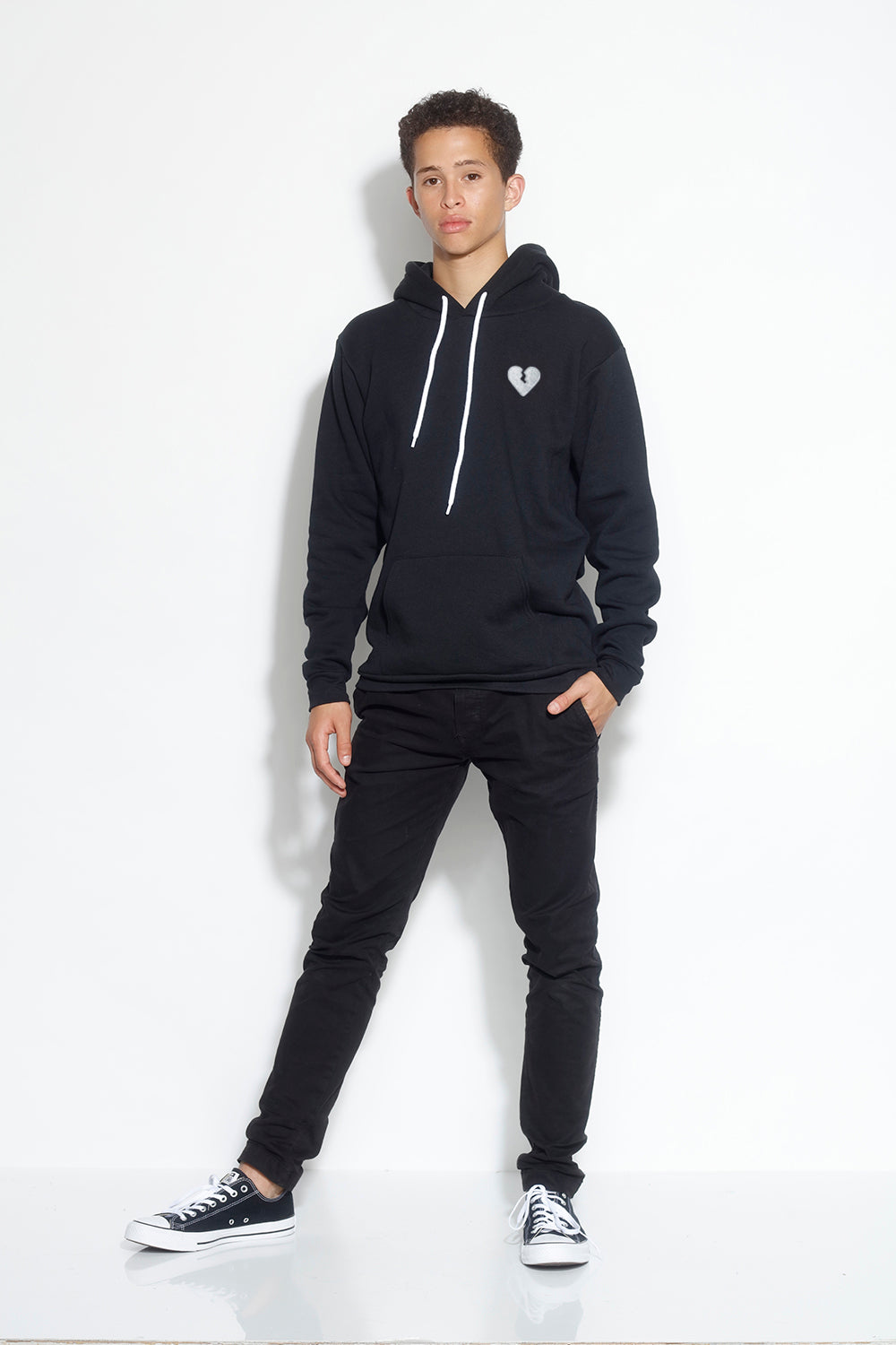 men's fleece pullover hoodie - black