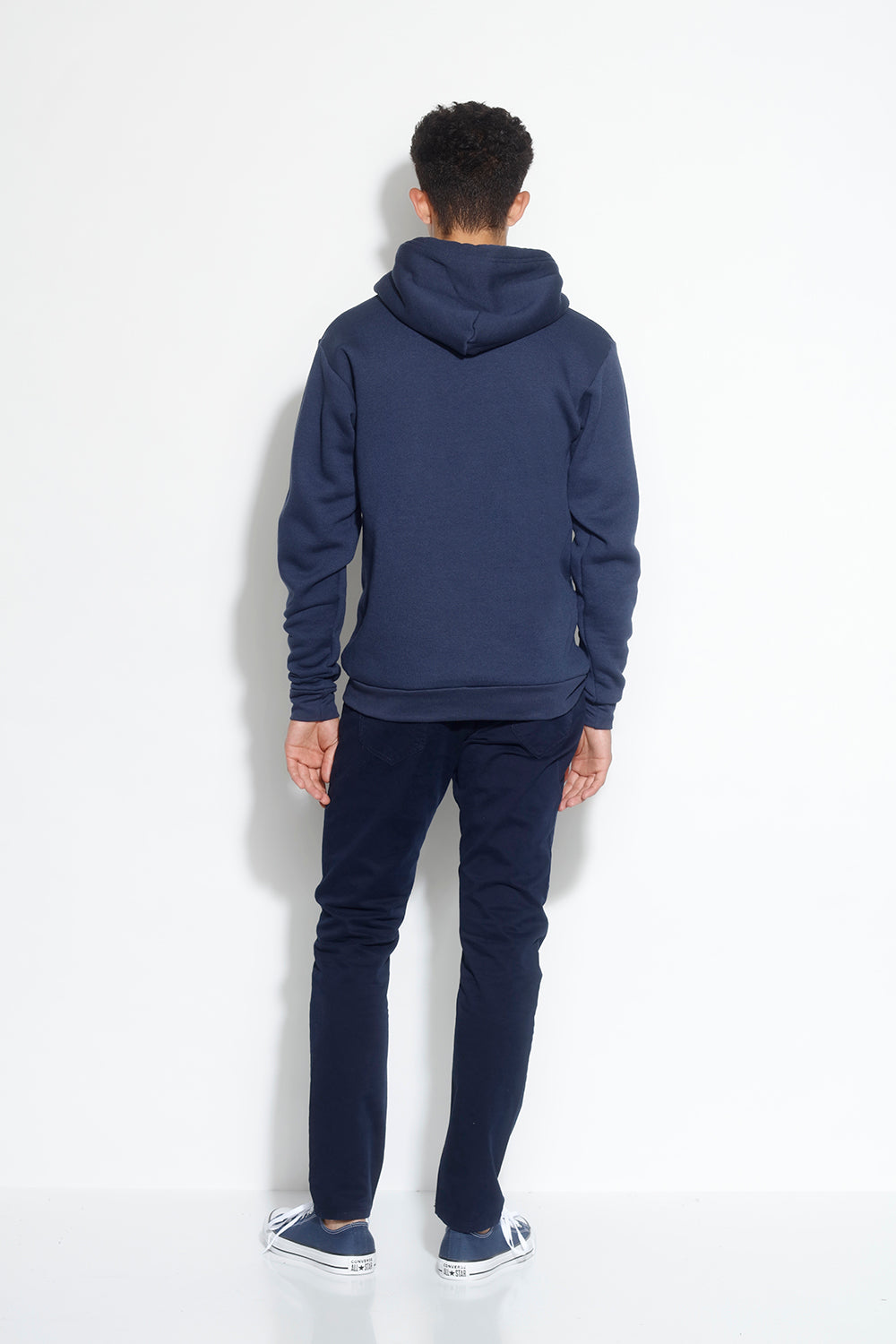 men's fleece pullover hoodie - navy
