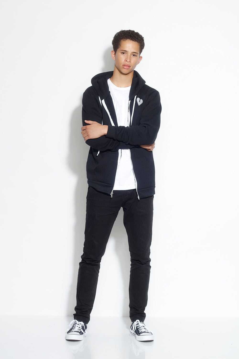 men's fleece zip hoodie - black