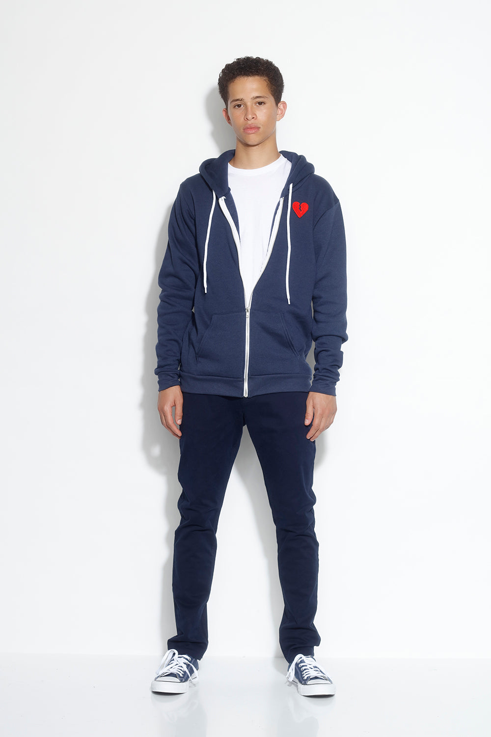 men's fleece zip hoodie - navy