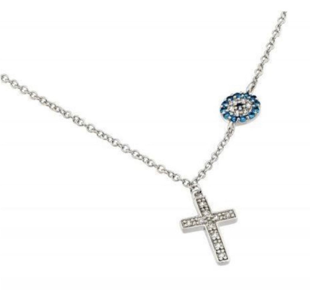 Tanya's Favorite Necklace- Sterling Silver Cross and Evil Eye Necklace