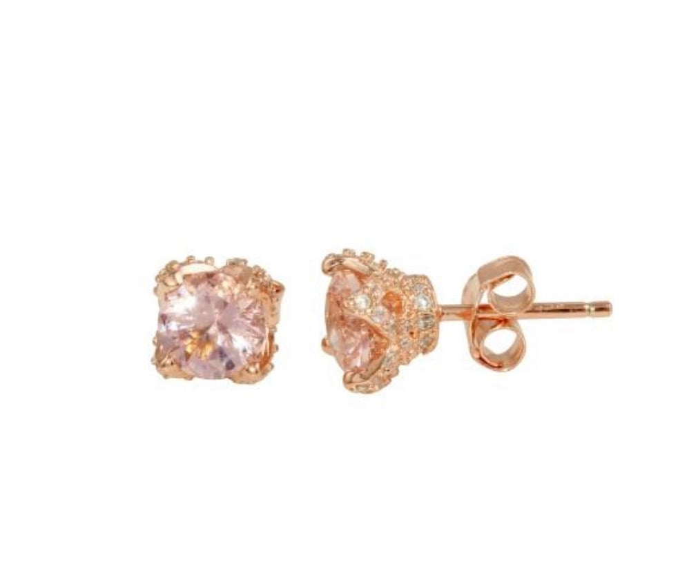 Queen Rose Gold 925 Sterling Silver CZ Earrings