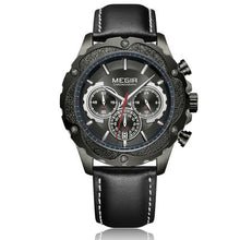 Load image into Gallery viewer, Gold SC Megir Chronograph Sports Quartz Watch Leather Strap