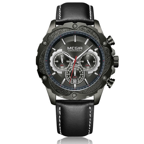 Gold SC Megir Chronograph Sports Quartz Watch Leather Strap